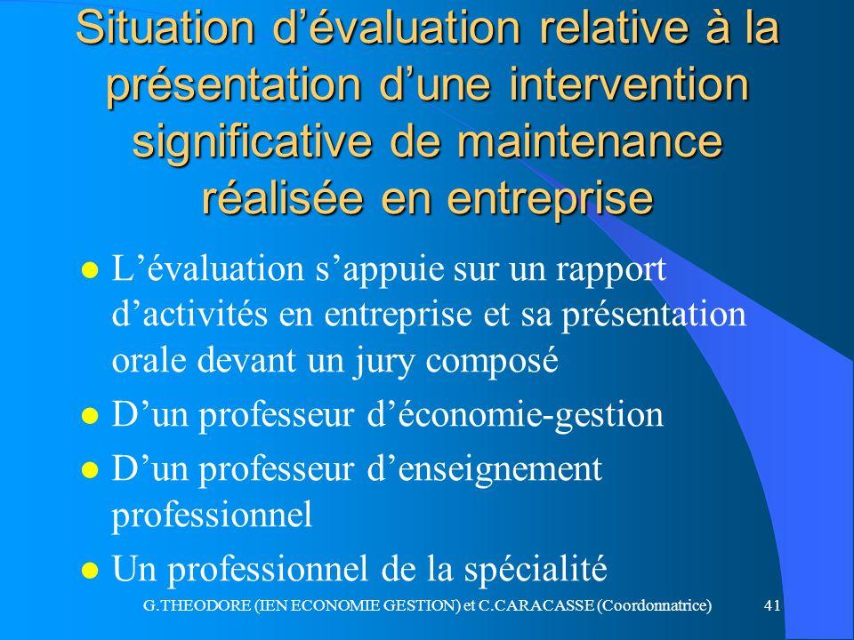 G.THEODORE (IEN ECONOMIE GESTION) et C.CARACASSE (Coordonnatrice)41 Situation dévaluation relative à la présentation dune intervention significative d