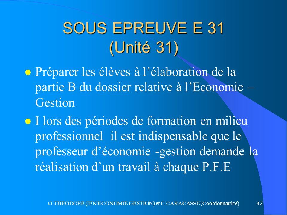 G.THEODORE (IEN ECONOMIE GESTION) et C.CARACASSE (Coordonnatrice)42 SOUS EPREUVE E 31 (Unité 31) l Préparer les élèves à lélaboration de la partie B d