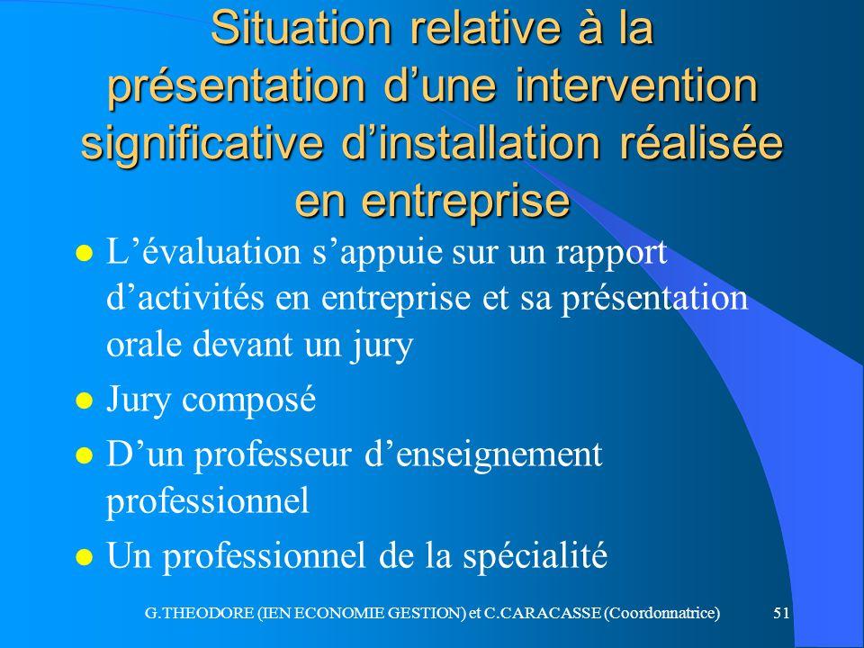 G.THEODORE (IEN ECONOMIE GESTION) et C.CARACASSE (Coordonnatrice)51 Situation relative à la présentation dune intervention significative dinstallation
