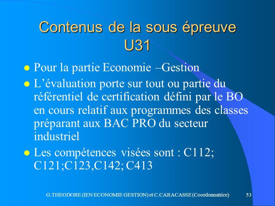 G.THEODORE (IEN ECONOMIE GESTION) et C.CARACASSE (Coordonnatrice)53 Contenus de la sous épreuve U31 l Pour la partie Economie –Gestion l Lévaluation p