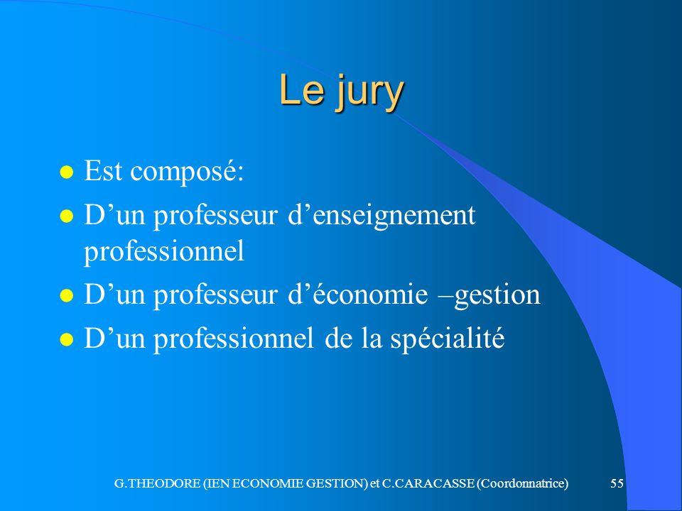 G.THEODORE (IEN ECONOMIE GESTION) et C.CARACASSE (Coordonnatrice)55 Le jury l Est composé: l Dun professeur denseignement professionnel l Dun professe