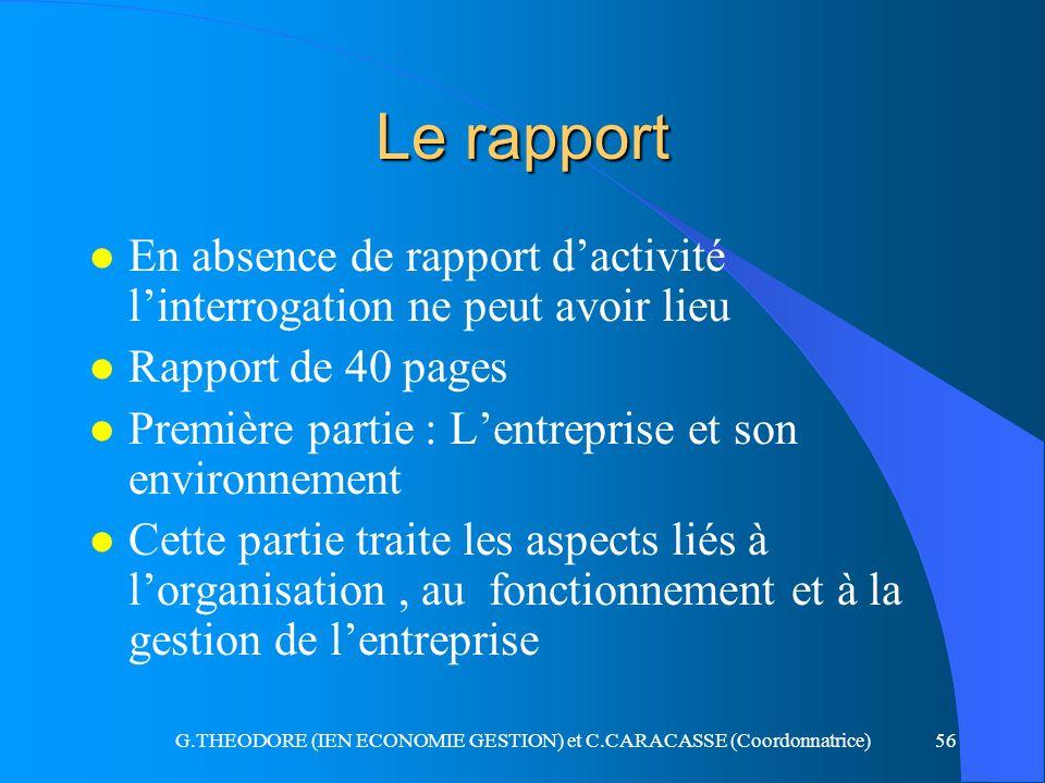 G.THEODORE (IEN ECONOMIE GESTION) et C.CARACASSE (Coordonnatrice)56 Le rapport l En absence de rapport dactivité linterrogation ne peut avoir lieu l R