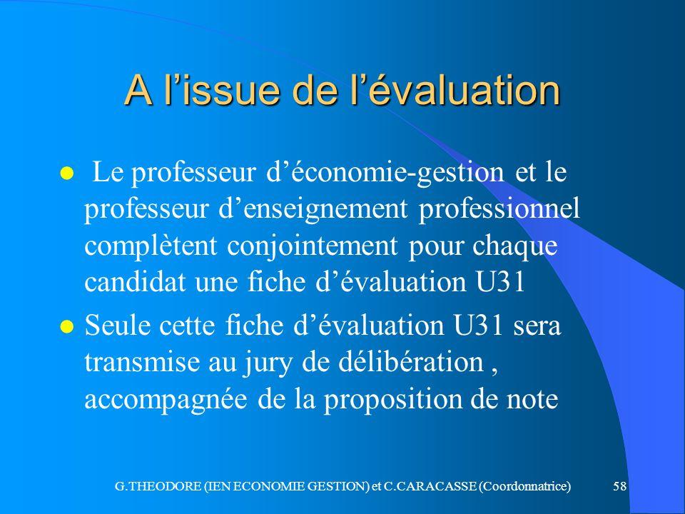 G.THEODORE (IEN ECONOMIE GESTION) et C.CARACASSE (Coordonnatrice)58 A lissue de lévaluation l Le professeur déconomie-gestion et le professeur denseig