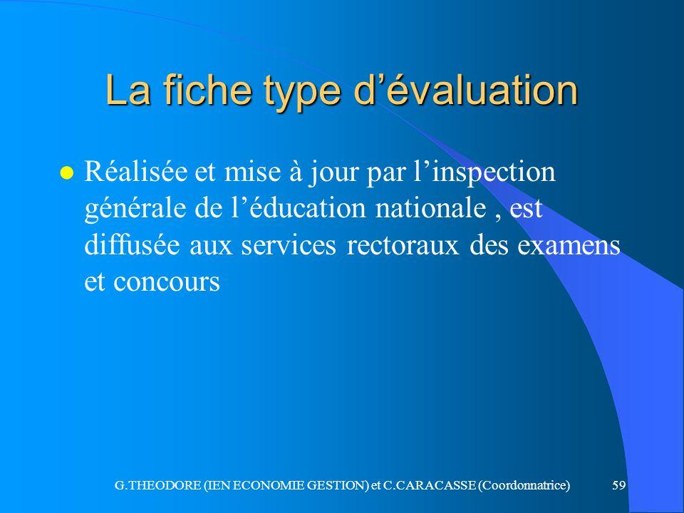G.THEODORE (IEN ECONOMIE GESTION) et C.CARACASSE (Coordonnatrice)59 La fiche type dévaluation l Réalisée et mise à jour par linspection générale de lé