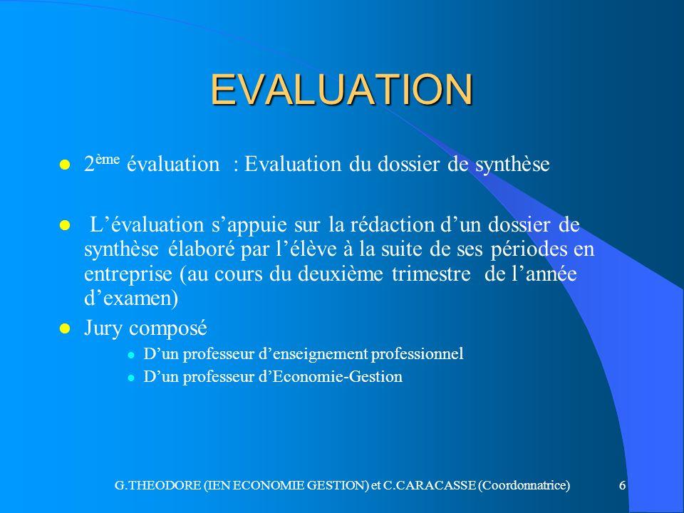 G.THEODORE (IEN ECONOMIE GESTION) et C.CARACASSE (Coordonnatrice)6 EVALUATION l 2 ème évaluation : Evaluation du dossier de synthèse l Lévaluation sap