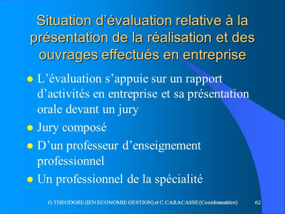 G.THEODORE (IEN ECONOMIE GESTION) et C.CARACASSE (Coordonnatrice)62 Situation dévaluation relative à la présentation de la réalisation et des ouvrages