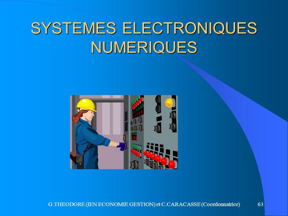 G.THEODORE (IEN ECONOMIE GESTION) et C.CARACASSE (Coordonnatrice)63 SYSTEMES ELECTRONIQUES NUMERIQUES