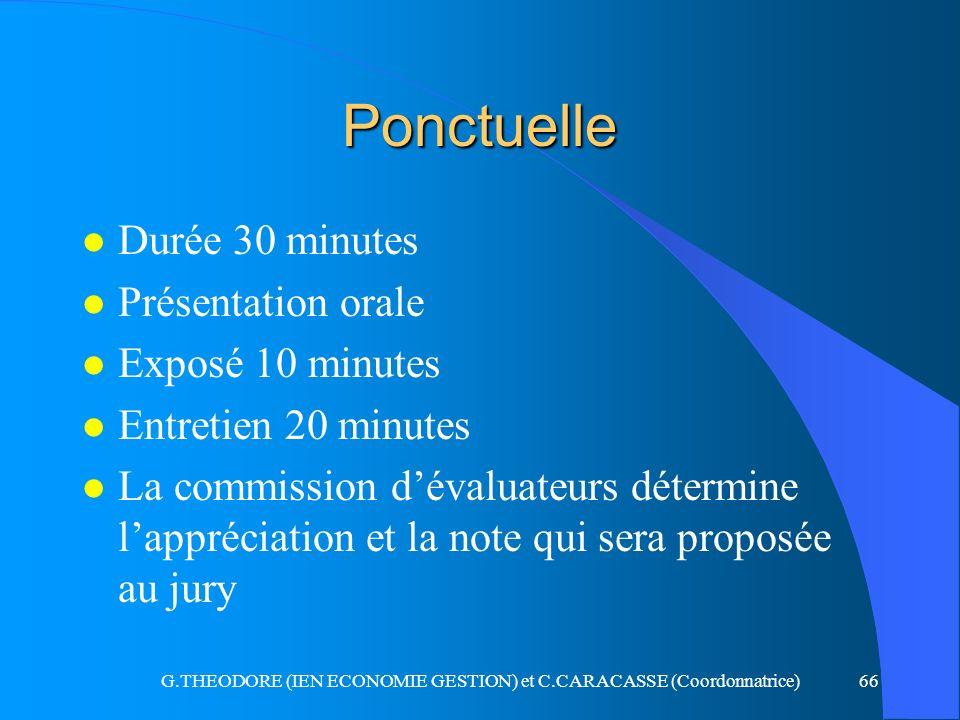 G.THEODORE (IEN ECONOMIE GESTION) et C.CARACASSE (Coordonnatrice)66 Ponctuelle l Durée 30 minutes l Présentation orale l Exposé 10 minutes l Entretien
