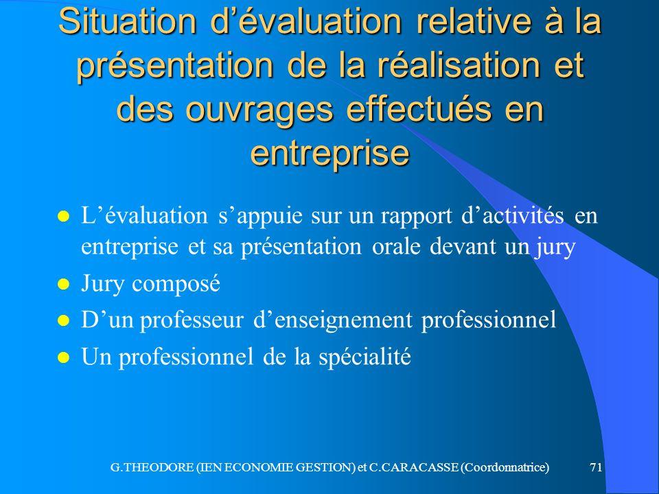 G.THEODORE (IEN ECONOMIE GESTION) et C.CARACASSE (Coordonnatrice)71 Situation dévaluation relative à la présentation de la réalisation et des ouvrages