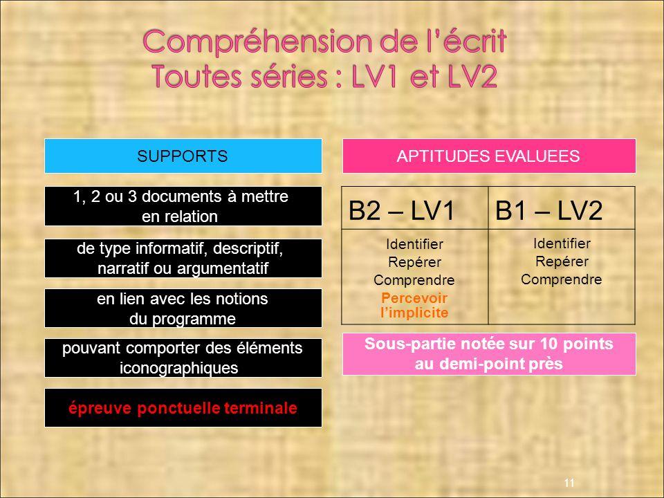 11 B2 – LV1B1 – LV2 Identifier Repérer Comprendre Percevoir limplicite Identifier Repérer Comprendre Sous-partie notée sur 10 points au demi-point prè