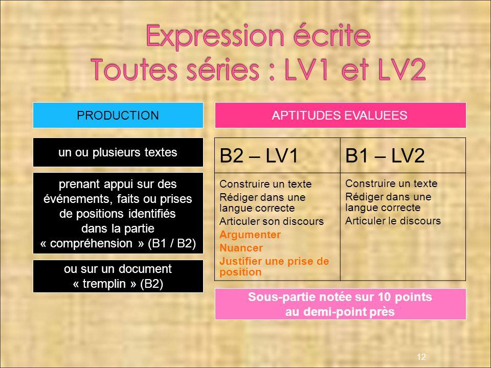 12 B2 – LV1B1 – LV2 Construire un texte Rédiger dans une langue correcte Articuler son discours Argumenter Nuancer Justifier une prise de position Con