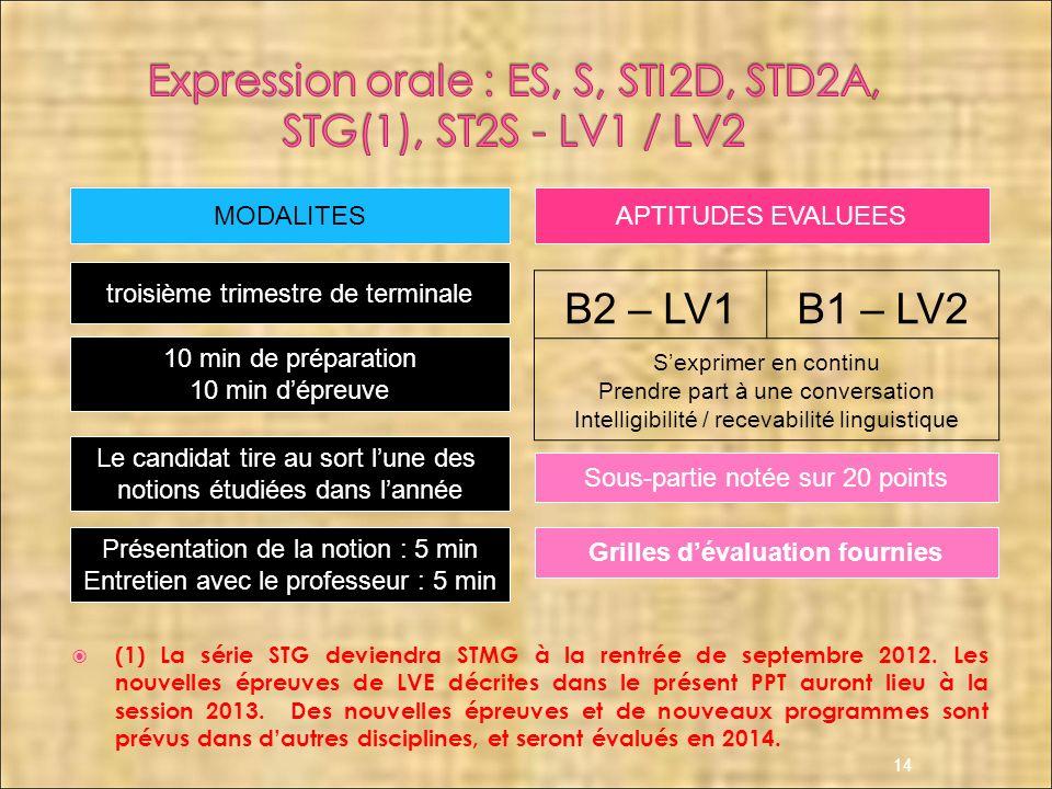 (1) La série STG deviendra STMG à la rentrée de septembre 2012. Les nouvelles épreuves de LVE décrites dans le présent PPT auront lieu à la session 20