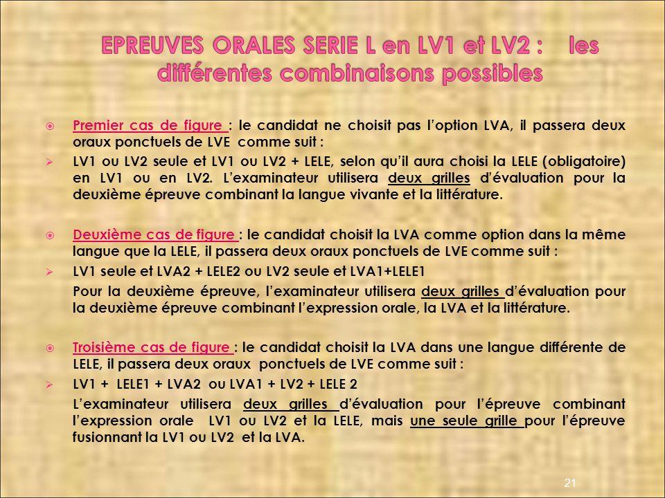 Premier cas de figure : le candidat ne choisit pas loption LVA, il passera deux oraux ponctuels de LVE comme suit : LV1 ou LV2 seule et LV1 ou LV2 + L