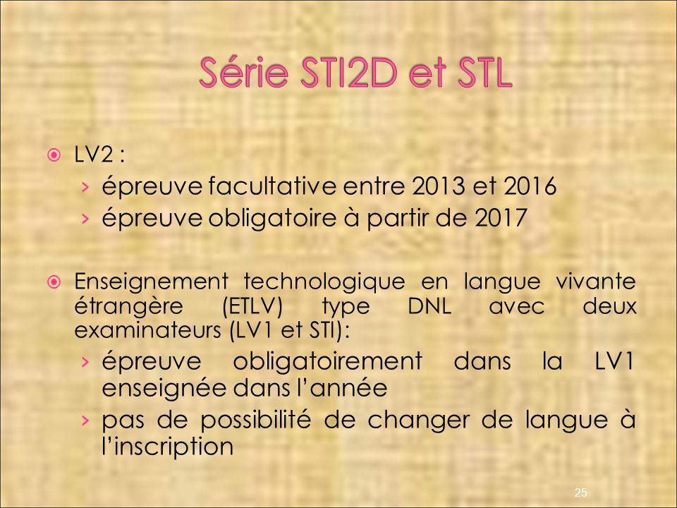 LV2 : épreuve facultative entre 2013 et 2016 épreuve obligatoire à partir de 2017 Enseignement technologique en langue vivante étrangère (ETLV) type D