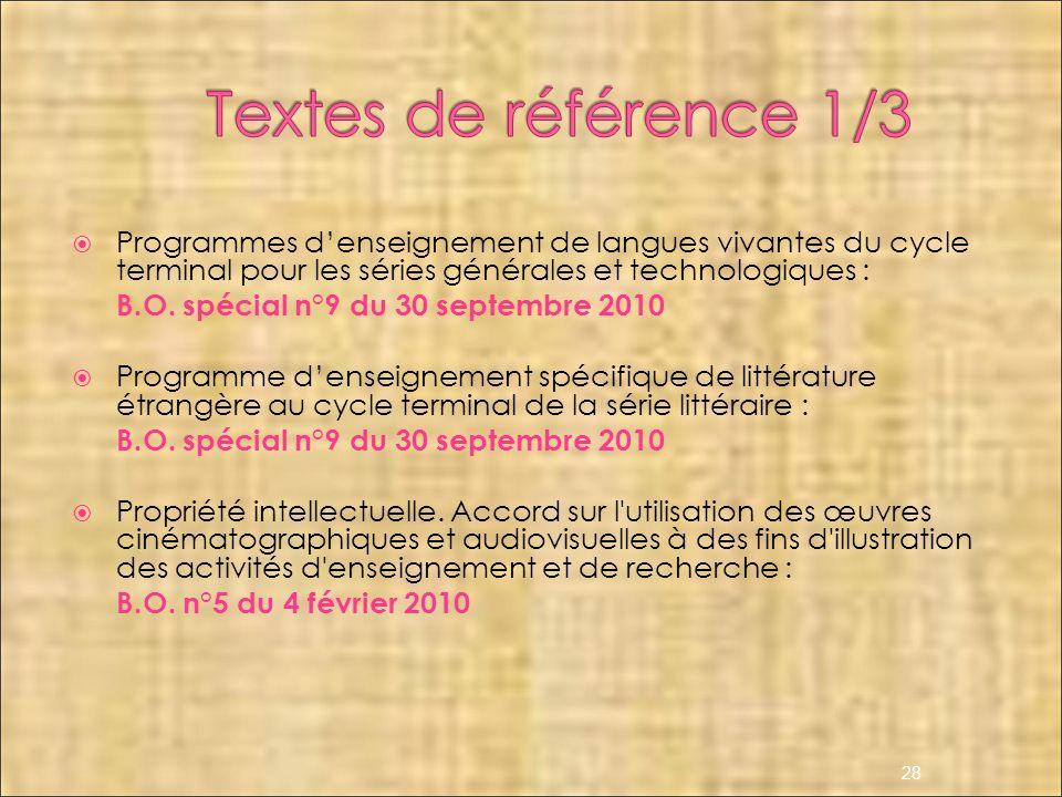 Programmes denseignement de langues vivantes du cycle terminal pour les séries générales et technologiques : B.O. spécial n°9 du 30 septembre 2010 Pro