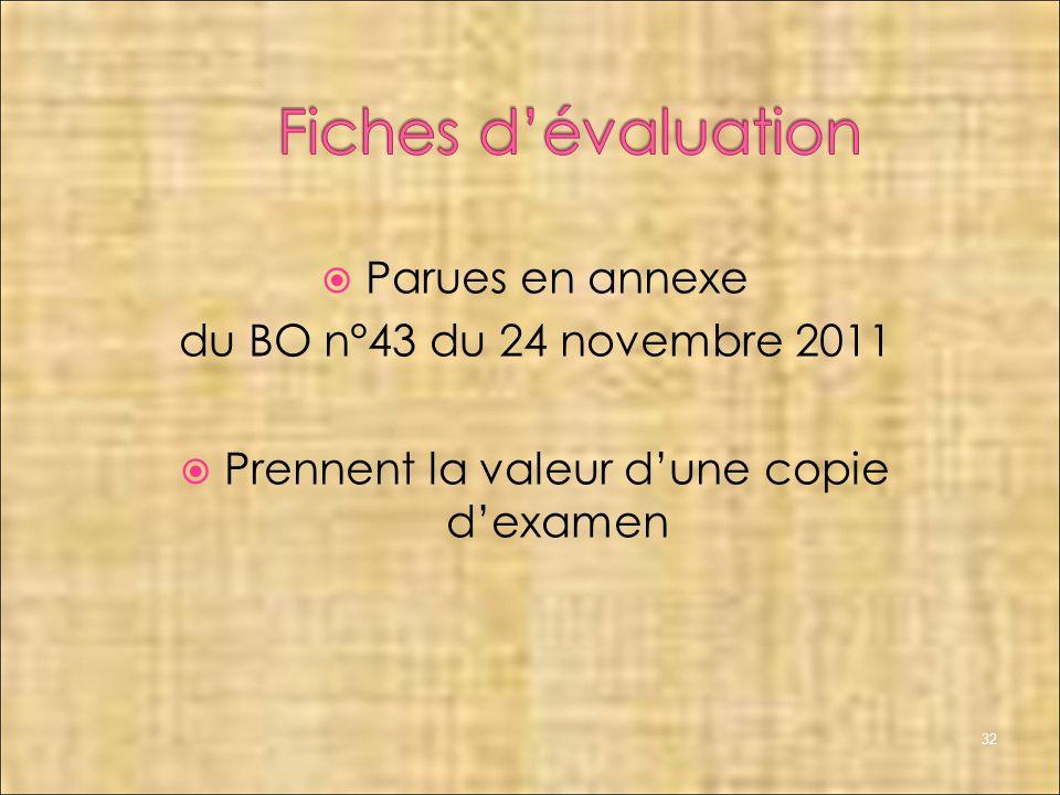 32 Parues en annexe du BO n°43 du 24 novembre 2011 Prennent la valeur dune copie dexamen