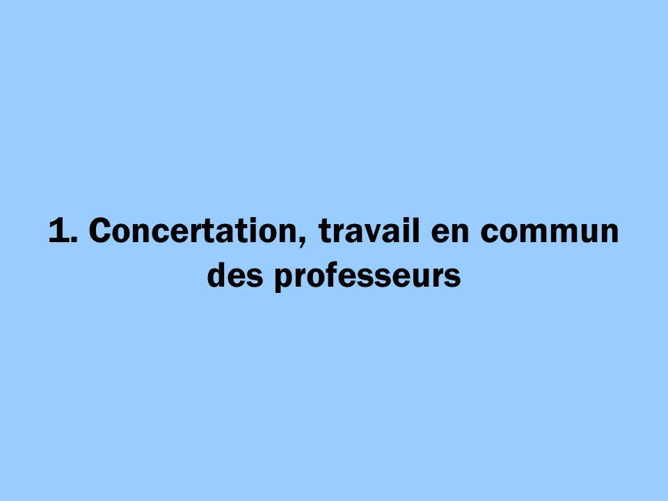 1. Concertation, travail en commun des professeurs