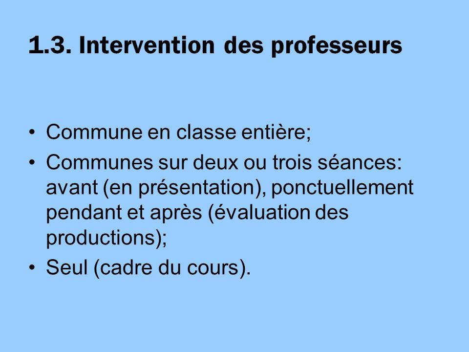 1.3. Intervention des professeurs Commune en classe entière; Communes sur deux ou trois séances: avant (en présentation), ponctuellement pendant et ap