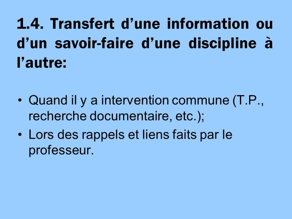 1.4. Transfert dune information ou dun savoir-faire dune discipline à lautre: Quand il y a intervention commune (T.P., recherche documentaire, etc.);