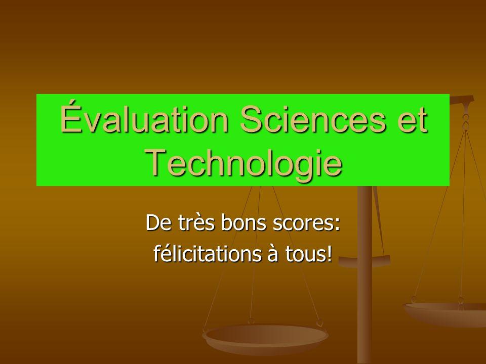 Évaluation Sciences et Technologie De très bons scores: félicitations à tous!