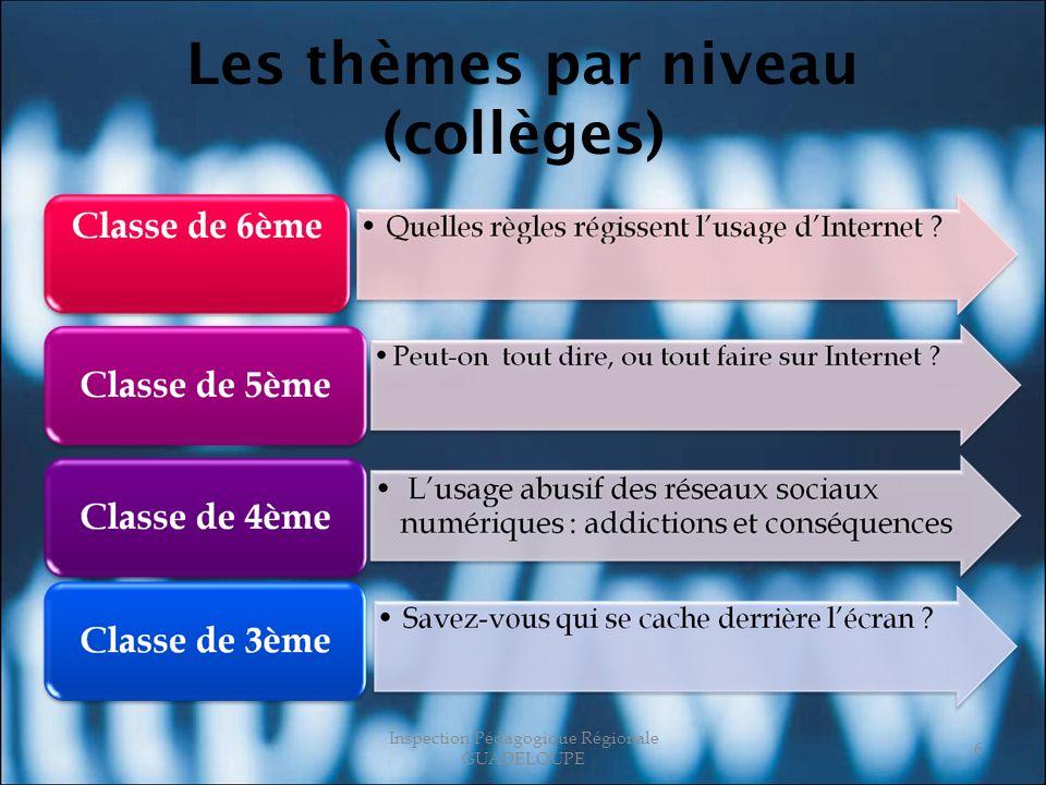 Les thèmes par niveau (collèges) Inspection Pédagogique Régionale GUADELOUPE 6