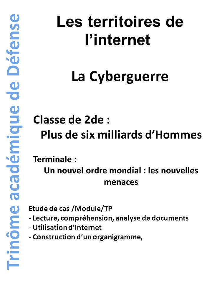 Trinôme académique de Défense Les territoires de linternet La Cyberguerre Classe de 2de : Plus de six milliards dHommes Terminale : Un nouvel ordre mo