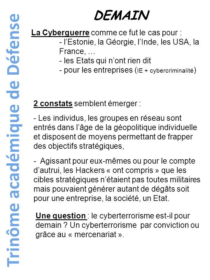 Trinôme académique de Défense DEMAIN La Cyberguerre comme ce fut le cas pour : - lEstonie, la Géorgie, lInde, les USA, la France, … - les Etats qui no