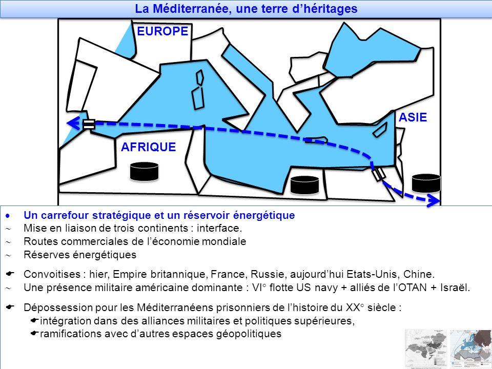 La Méditerranée, une terre dhéritages Un carrefour stratégique et un réservoir énergétique Mise en liaison de trois continents : interface. Routes com
