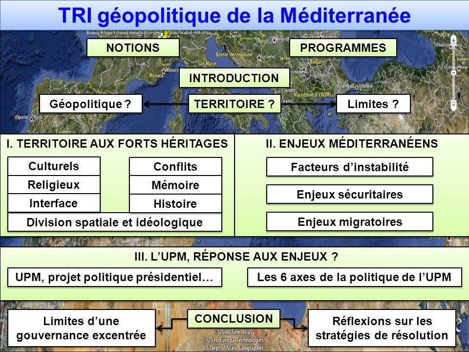 II. ENJEUX MÉDITERRANÉENS I. TERRITOIRE AUX FORTS HÉRITAGES TRI géopolitique de la Méditerranée TERRITOIRE ? Culturels CONCLUSION Facteurs dinstabilit
