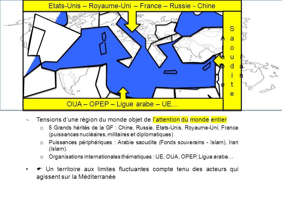 Tensions dune région du monde objet de lattention du monde entier o 5 Grands hérités de la GF : Chine, Russie, Etats-Unis, Royaume-Uni, France (puissa