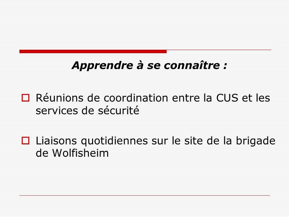 Apprendre à se connaître : Réunions de coordination entre la CUS et les services de sécurité Liaisons quotidiennes sur le site de la brigade de Wolfis
