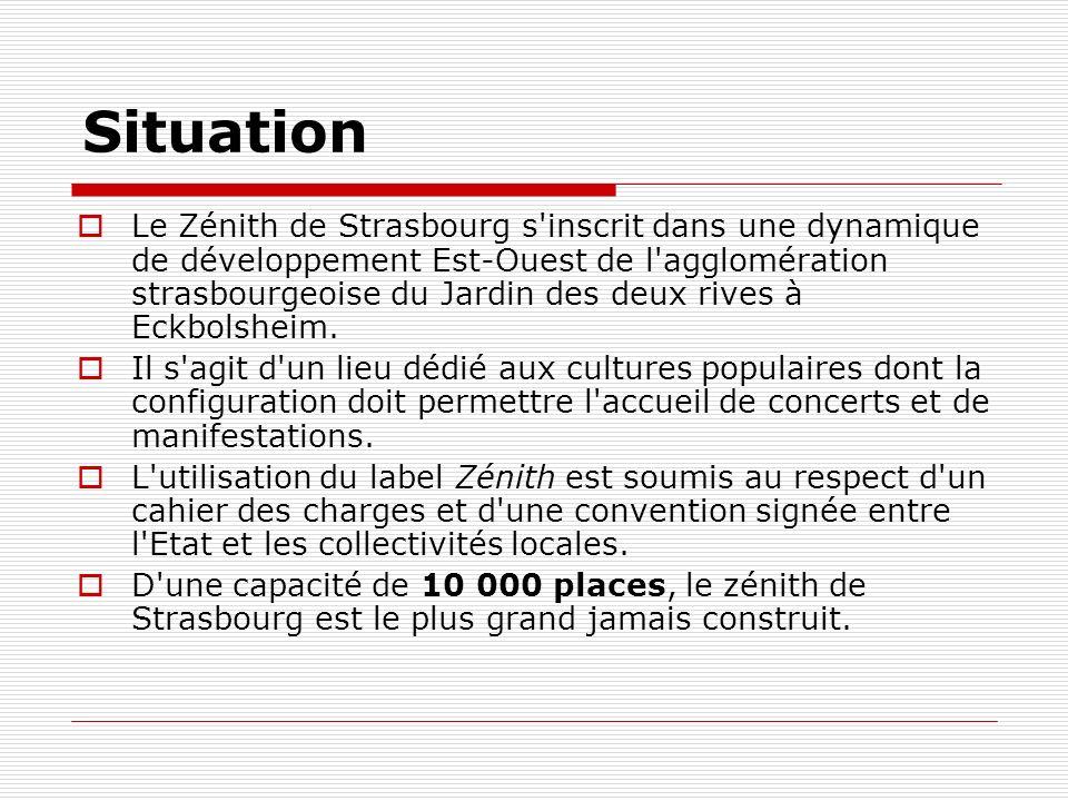 Situation Le Zénith de Strasbourg s'inscrit dans une dynamique de développement Est-Ouest de l'agglomération strasbourgeoise du Jardin des deux rives