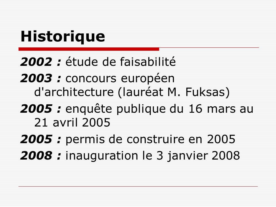 Historique 2002 : étude de faisabilité 2003 : concours européen d'architecture (lauréat M. Fuksas) 2005 : enquête publique du 16 mars au 21 avril 2005