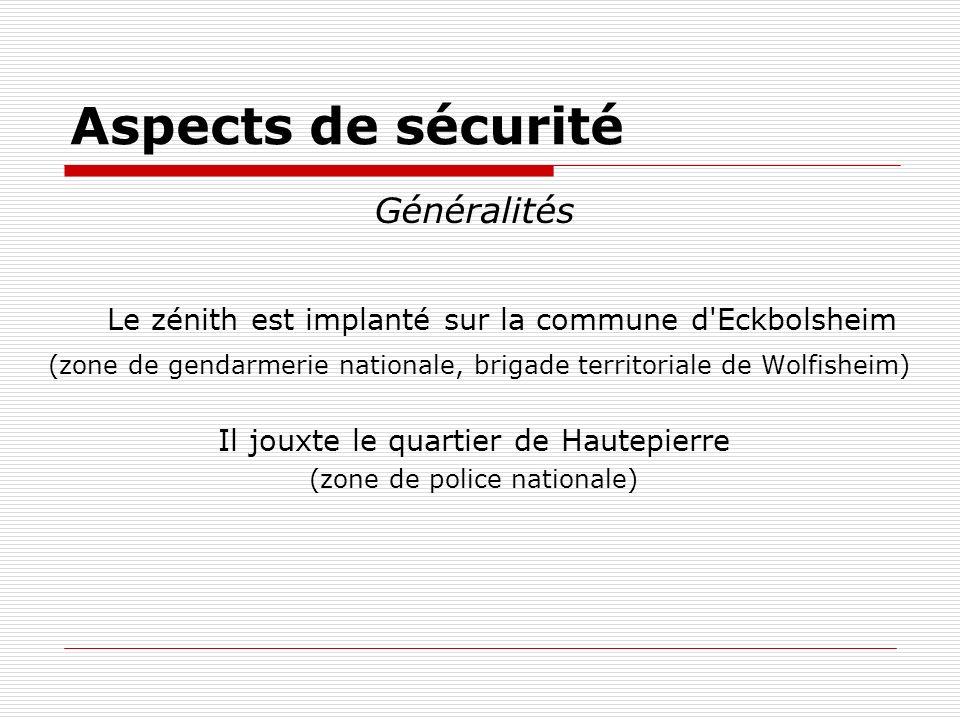 Aspects de sécurité Généralités Le zénith est implanté sur la commune d'Eckbolsheim (zone de gendarmerie nationale, brigade territoriale de Wolfisheim