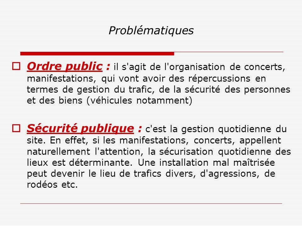 Problématiques Ordre public : il s'agit de l'organisation de concerts, manifestations, qui vont avoir des répercussions en termes de gestion du trafic