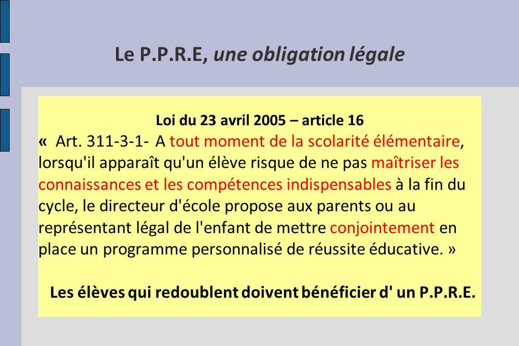 Le P.P.R.E, une obligation légale Loi du 23 avril 2005 – article 16 « Art. 311-3-1- A tout moment de la scolarité élémentaire, lorsqu'il apparaît qu'u