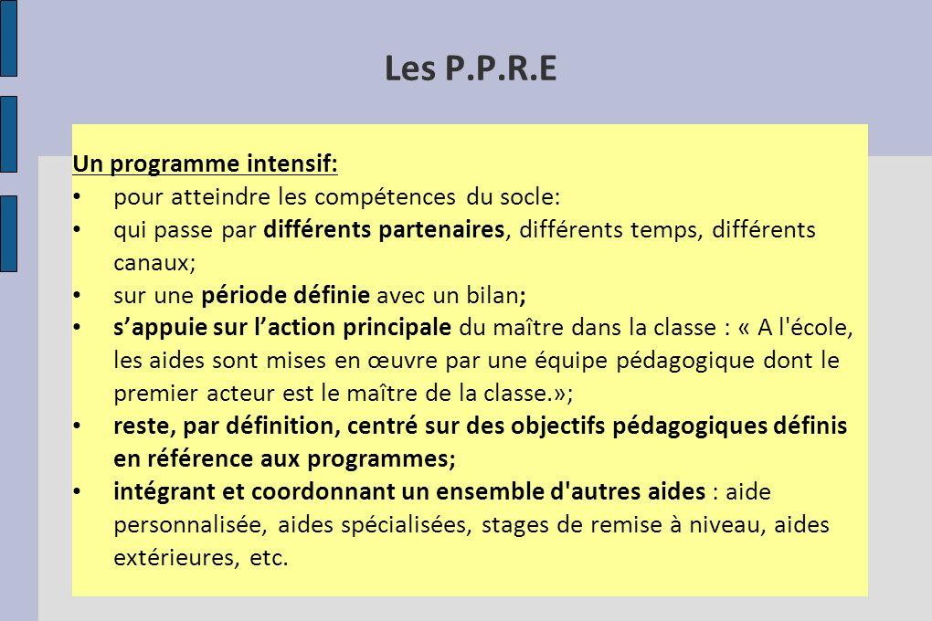 Les P.P.R.E Un programme intensif: pour atteindre les compétences du socle: qui passe par différents partenaires, différents temps, différents canaux;