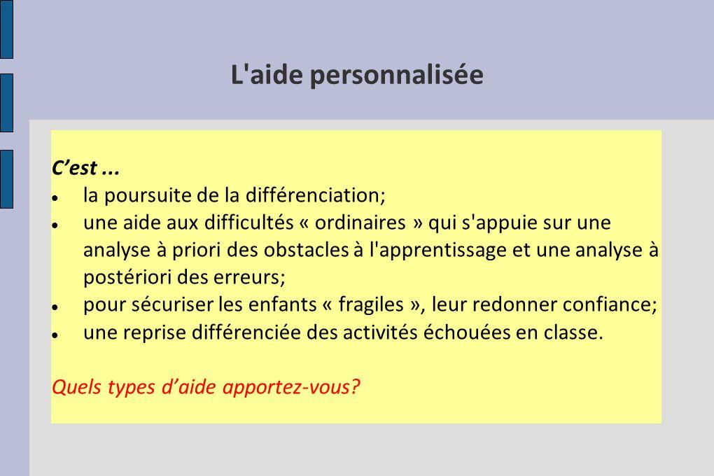 L'aide personnalisée Cest... la poursuite de la différenciation; une aide aux difficultés « ordinaires » qui s'appuie sur une analyse à priori des obs
