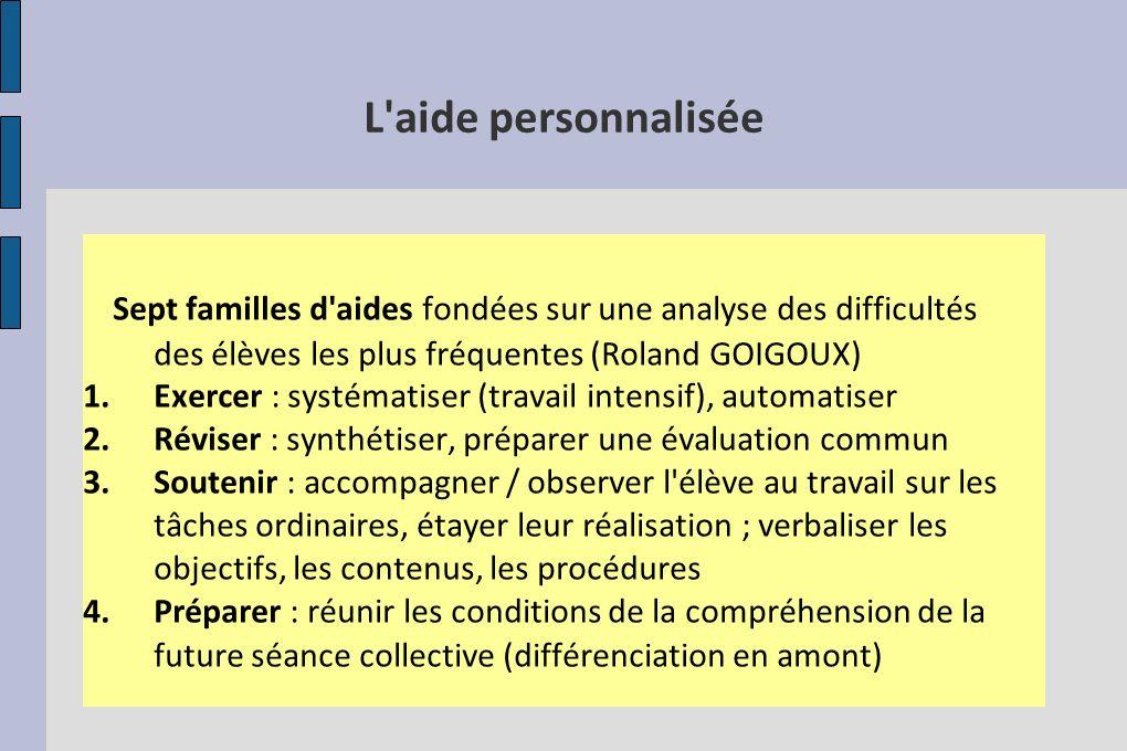L'aide personnalisée Sept familles d'aides fondées sur une analyse des difficultés des élèves les plus fréquentes (Roland GOIGOUX) 1.Exercer : systéma