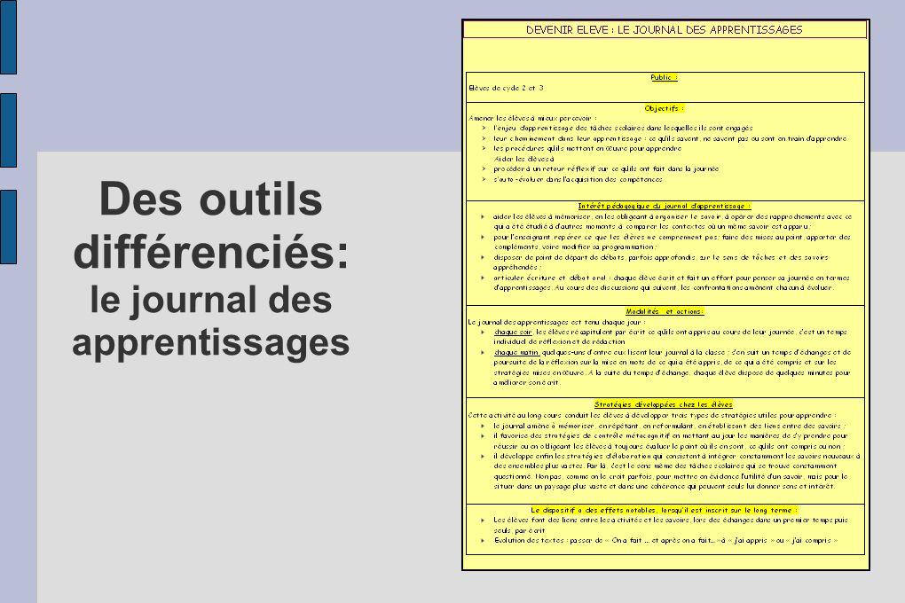 Des outils différenciés: le journal des apprentissages
