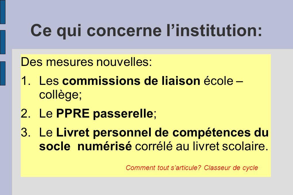 Ce qui concerne linstitution: Des mesures nouvelles: 1.Les commissions de liaison école – collège; 2.Le PPRE passerelle; 3.Le Livret personnel de comp