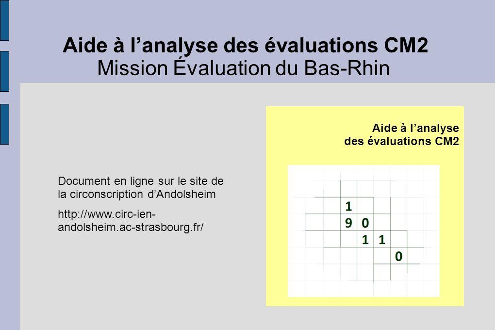 Aide à lanalyse des évaluations CM2 Mission Évaluation du Bas-Rhin Document en ligne sur le site de la circonscription dAndolsheim http://www.circ-ien