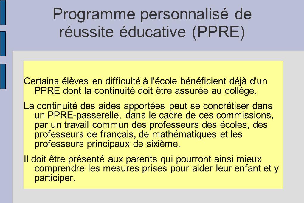 Programme personnalisé de réussite éducative (PPRE) Certains élèves en difficulté à l'école bénéficient déjà d'un PPRE dont la continuité doit être as