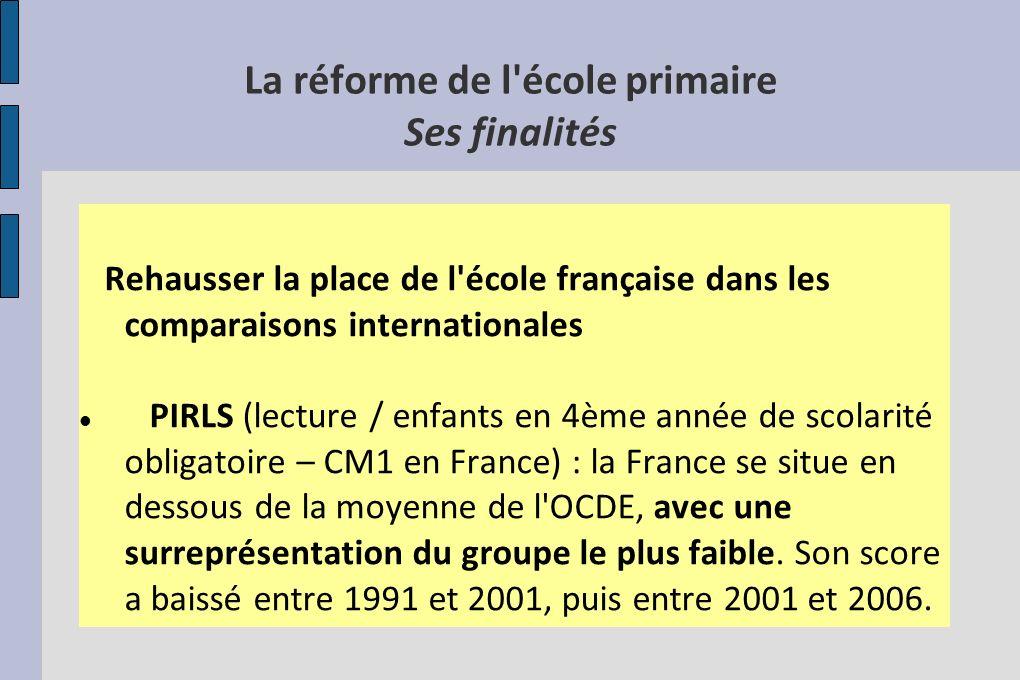 La réforme de l'école primaire Ses finalités Rehausser la place de l'école française dans les comparaisons internationales PIRLS (lecture / enfants en