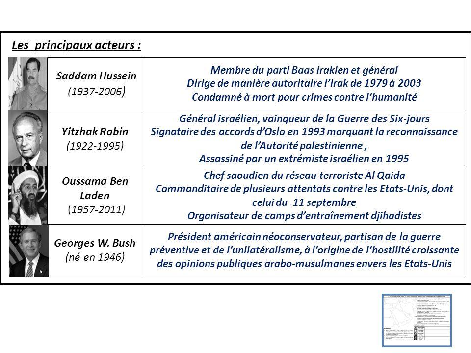Les principaux acteurs : Saddam Hussein (1937-2006 ) Membre du parti Baas irakien et général Dirige de manière autoritaire lIrak de 1979 à 2003 Condam