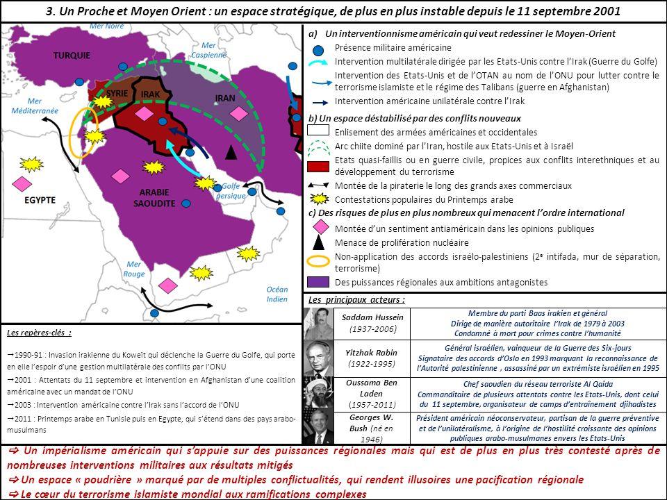 a)Un interventionnisme américain qui veut redessiner le Moyen-Orient Présence militaire américaine Intervention multilatérale dirigée par les Etats-Un