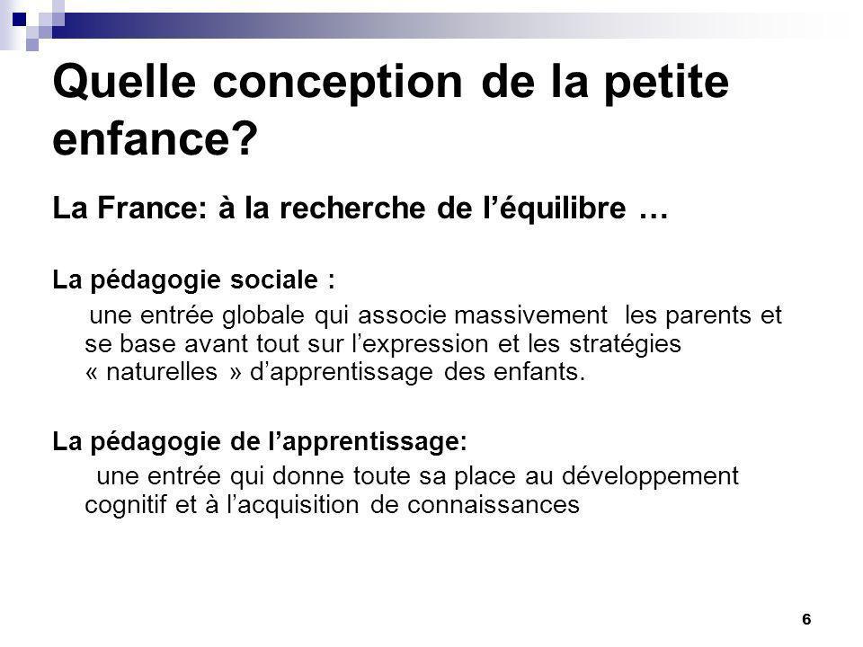 6 Quelle conception de la petite enfance? La France: à la recherche de léquilibre … La pédagogie sociale : une entrée globale qui associe massivement