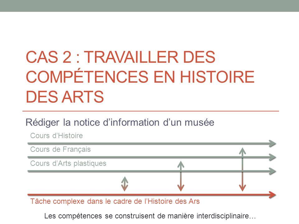 CAS 2 : TRAVAILLER DES COMPÉTENCES EN HISTOIRE DES ARTS Rédiger la notice dinformation dun musée Cours dArts plastiques Tâche complexe dans le cadre d