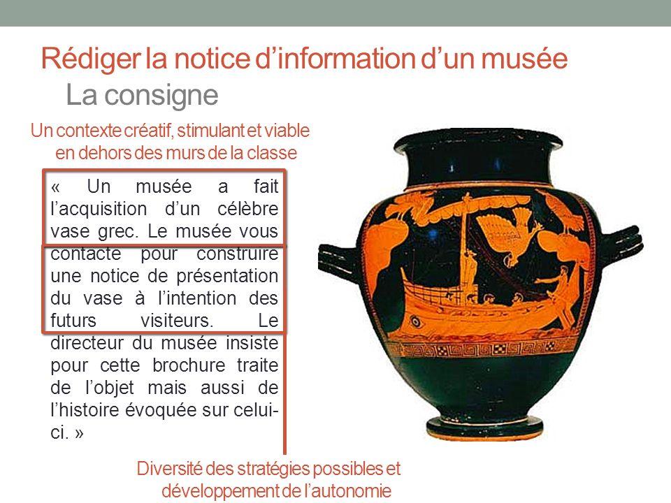 Rédiger la notice dinformation dun musée La consigne « Un musée a fait lacquisition dun célèbre vase grec. Le musée vous contacte pour construire une