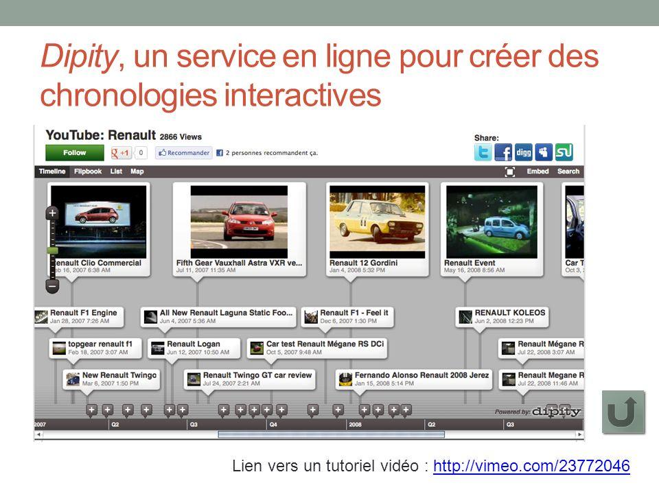 Dipity, un service en ligne pour créer des chronologies interactives Lien vers un tutoriel vidéo : http://vimeo.com/23772046http://vimeo.com/23772046